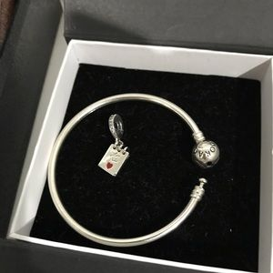Authentic Pandora Bangle and Love Notes Charm